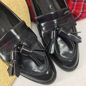 Zara Shoes - •Zara• Heeled Penny Loafers Patent with Tassels